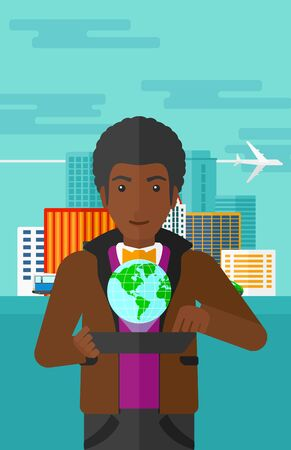 computer model: An african-american man standing with a tablet computer in hands and a model of globe above the device on the background of modern city vector flat design illustration. Vertical layout. Illustration
