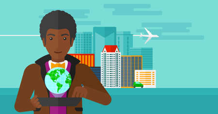 computer model: An african-american man standing with a tablet computer in hands and a model of globe above the device on the background of modern city vector flat design illustration. Horizontal layout.