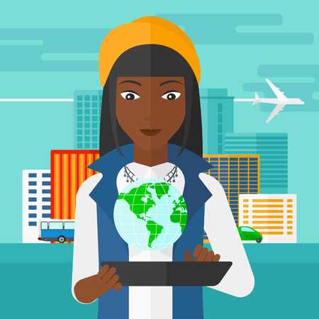 mobile app: An african-american woman standing with a tablet computer in hands and a model of globe above the device on the background of modern city vector flat design illustration. Square layout.