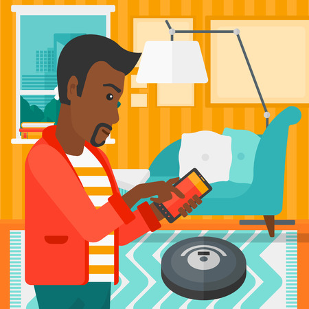 controlling: An african-american man controlling robot vacuum cleaner with his smartphone on the background of living room vector flat design illustration. Square layout. Illustration
