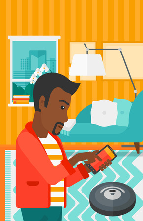 controlling: An african-american man controlling robot vacuum cleaner with his smartphone on the background of living room vector flat design illustration. Vertical layout.