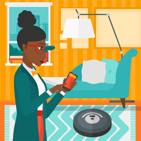 An african-american woman controlling robot vacuum cleaner with her smartphone on the background of living room vector flat design illustration. Square layout.