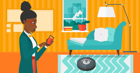 controlling: An african-american woman controlling robot vacuum cleaner with her smartphone on the background of living room vector flat design illustration. Horizontal layout.