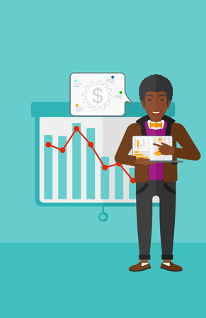 african american ethnicity: An african-american man pointing at the laptop with some charts on the background of projector roller screen with decreasing chart vector flat design illustration. Vertical layout.