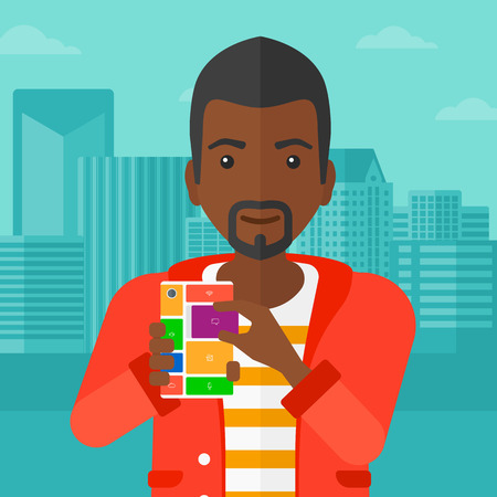 An african-american man holding modular phone on a city background vector flat design illustration. Square layout.