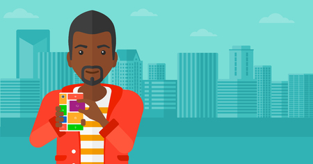 repurpose: An african-american man holding modular phone on a city background vector flat design illustration. Horizontal layout.