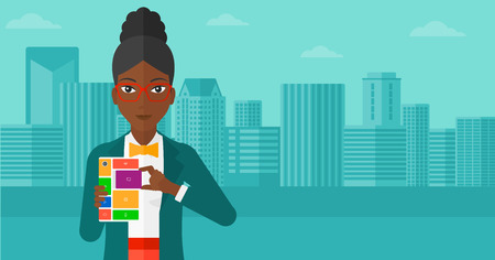 rebuild: An african-american woman holding modular phone on a city background vector flat design illustration. Horizontal layout. Illustration