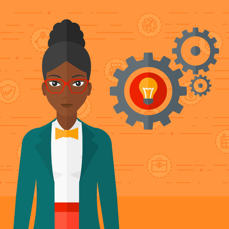 one woman: An african-american woman with some gears behind her and a light bulb in one of gears on an orange background with business icons vector flat design illustration. Square layout. Illustration