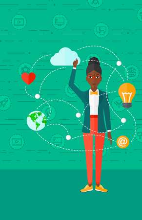 flat earth: An african-american woman writing on virtual board on a green background with technology icons vector flat design illustration. Vertical layout.