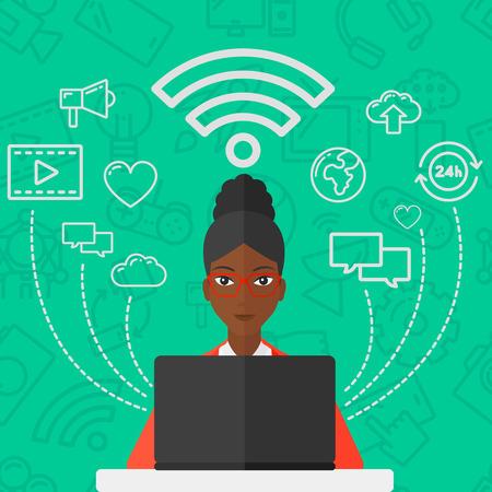 telefono caricatura: Una mujer afroamericana de trabajo en una computadora portátil y de la red informática iconos sociales por encima de ella sobre un fondo verde con iconos de la tecnología del vector Palabras diseño plano. de planta cuadrada. Vectores
