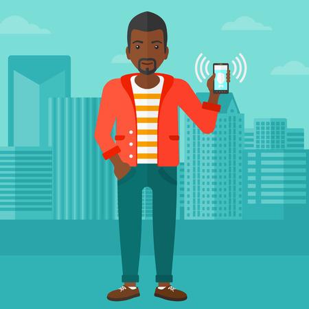街背景ベクトル フラット デザイン イラストを振動スマート フォンを保持しているアフリカ系アメリカ人の男。正方形のレイアウト。
