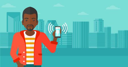 vibrate: An african-american man holding vibrating smartphone on a city background vector flat design illustration. Horizontal layout. Illustration