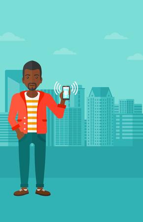 negras africanas: Un hombre afroamericano que sostiene teléfono inteligente que vibra en una ilustración de diseño plano de la ciudad de vectores de fondo. disposición vertical.