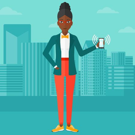 woman cellphone: An african-american woman holding vibrating smartphone on a city background vector flat design illustration. Square layout.