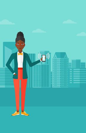 vibrating: An african-american woman holding vibrating smartphone on a city background vector flat design illustration. Vertical layout.