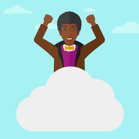 manos levantadas al cielo: Un hombre afroamericano con las manos levantadas sentado en una nube en el fondo de cielo azul ilustraci�n vectorial dise�o plano. de planta cuadrada. Vectores
