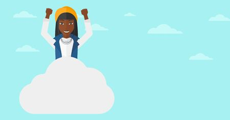 hands raised sky: An african-american woman with raised hands sitting on a cloud on the background of blue sky vector flat design illustration. Horizontal layout.