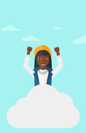 An african-american woman with raised hands sitting on a cloud on the background of blue sky vector flat design illustration. Vertical layout.