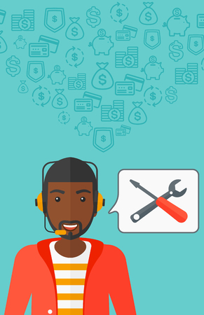 An african-american operator of technical support with headphone set and speech square on a blue background with business icons vector flat design illustration. Vertical layout.