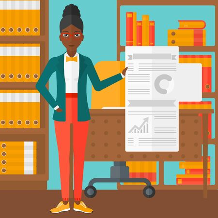 business woman: An african-american woman showing her complete paperwork with some text and charts on the background of business office vector flat design illustration. Square layout.