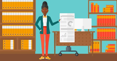 An african-american woman showing her complete paperwork with some text and charts on the background of business office vector flat design illustration. Horizontal layout.
