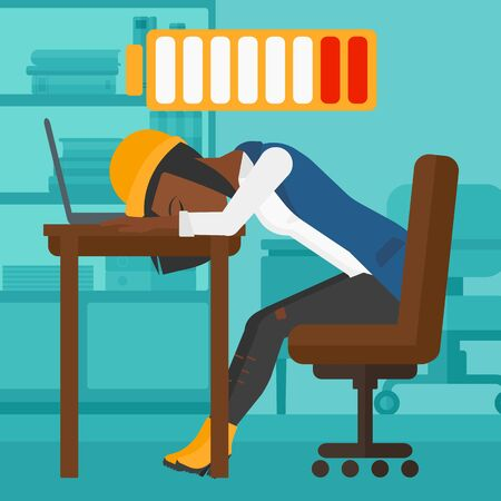 An african-american woman sleeping at workplace on laptop keyboard and low power battery sign over her head on the background of business office vector flat design illustration. Square layout.