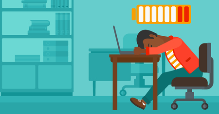 An african-american man sleeping at workplace on laptop keyboard and low power battery sign over his head on the background of business office vector flat design illustration. Horizontal layout. Imagens - 53174884