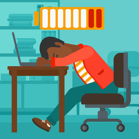 An african-american man sleeping at workplace on laptop keyboard and low power battery sign over his head on the background of business office vector flat design illustration. Square layout. Illustration