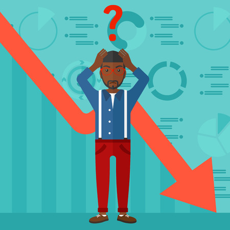 going down: An african-american man clutching his head and a big question mark above on the background of business graph going down vector flat design illustration. Square layout. Illustration