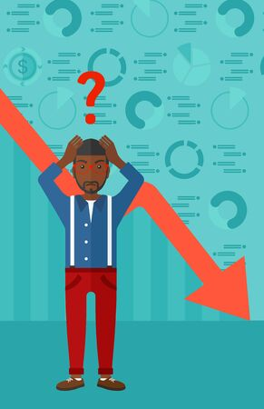 going down: An african-american man clutching his head and a big question mark above on the background of business graph going down vector flat design illustration. Vertical layout.