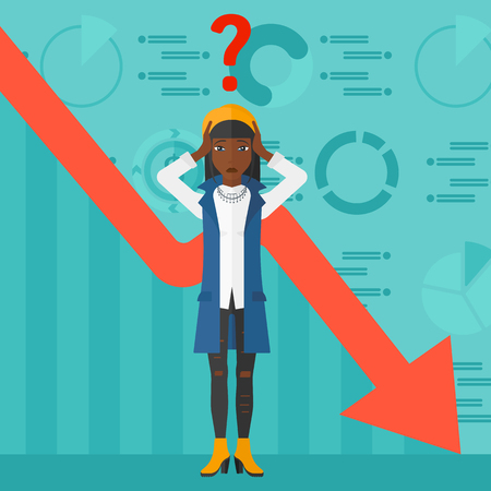 going down: An african-american woman clutching her head and a big question mark above on the background of business graph going down vector flat design illustration. Square layout.