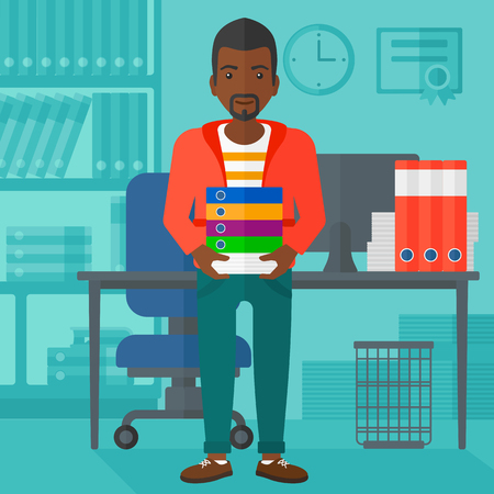 file clerk: An african-american man standing with pile of folders on the background of business office vector flat design illustration. Square layout. Illustration