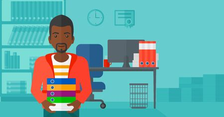 file clerk: An african-american man standing with pile of folders on the background of business office vector flat design illustration. Horizontal layout.