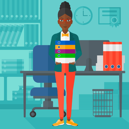 An african-american woman standing with pile of folders on the background of business office vector flat design illustration. Square layout. Çizim