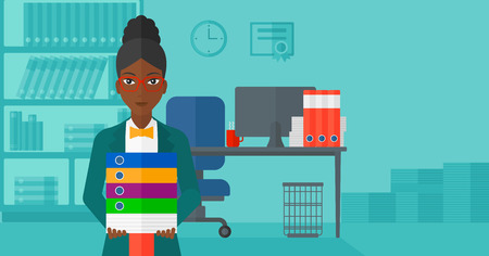 file clerk: An african-american woman standing with pile of folders on the background of business office vector flat design illustration. Horizontal layout.