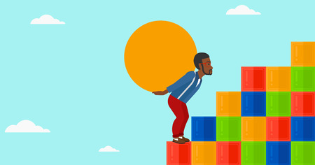 uphill: An african-american man rising up on the colored cubes and carrying a big stone on his back on the background of blue sky vector flat design illustration. Horizontal layout.