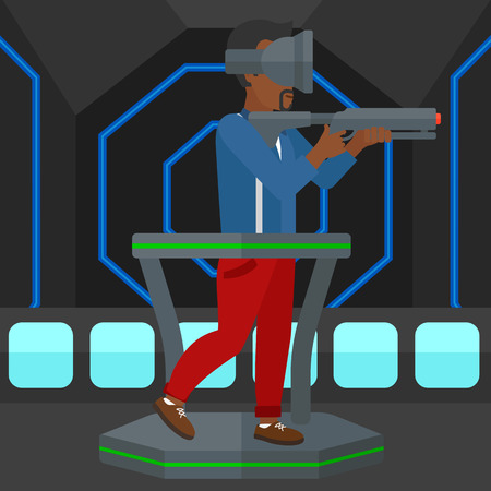 An african-american man wearing virtual reality headset and standing on a treadmill with a gun in hands vector flat design illustration. Square layout.