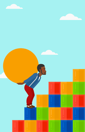 debtor: An african-american man rising up on the colored cubes and carrying a big stone on his back on the background of blue sky vector flat design illustration. Vertical layout.