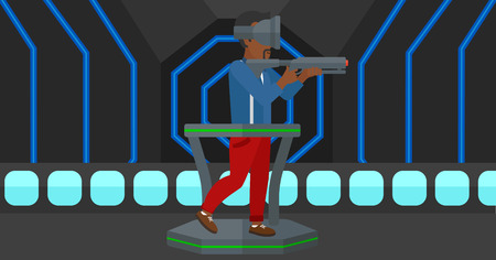 An african-american man wearing virtual reality headset and standing on a treadmill with a gun in hands vector flat design illustration. Horizontal layout.