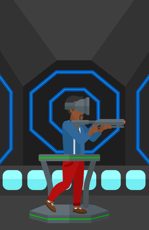 An african-american man wearing virtual reality headset and standing on a treadmill with a gun in hands vector flat design illustration. Vertical layout. Illusztráció