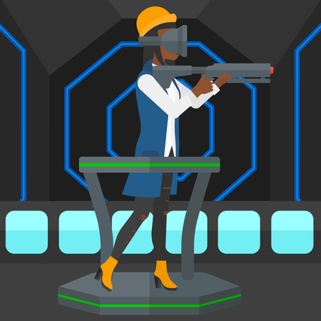 An african-american woman wearing virtual reality headset and standing on a treadmill with a gun in hands vector flat design illustration. Square layout. Illusztráció