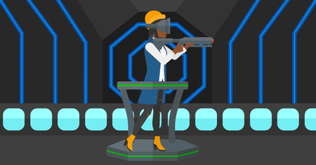An african-american woman wearing virtual reality headset and standing on a treadmill with a gun in hands vector flat design illustration. Horizontal layout. Illusztráció