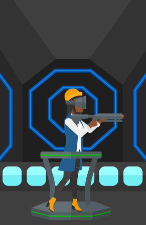 An african-american woman wearing virtual reality headset and standing on a treadmill with a gun in hands vector flat design illustration. Vertical layout.