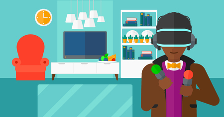 pickups: An african-american man wearing a virtual relaity headset on the background of modern  living room vector flat design illustration. Horizontal layout. Illustration