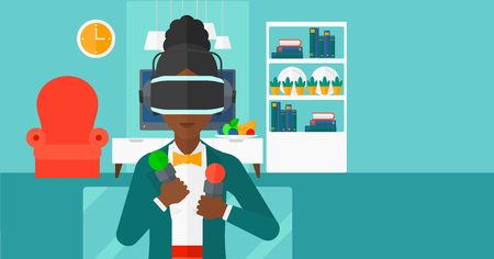 pickups: An african-american woman wearing a virtual relaity headset on the background of modern  living room vector flat design illustration. Horizontal layout.