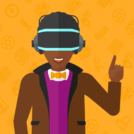 man pointing up: An african-american man wearing a virtual relaity headset and pointing a forefinger up on a yellow background with media icons vector flat design illustration. Square layout.