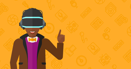 man pointing up: An african-american man wearing a virtual relaity headset and pointing a forefinger up on a yellow background with media icons vector flat design illustration. Horizontal layout.