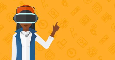 woman pointing up: An african-american  woman wearing a virtual relaity headset and pointing a forefinger up on a yellow background with media icons vector flat design illustration. Horizontal layout. Illustration