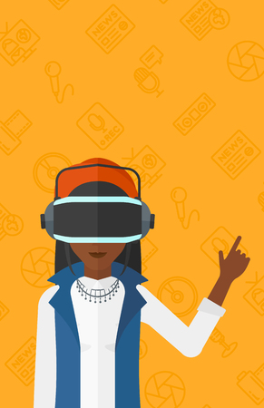 An african-american woman wearing a virtual relaity headset and pointing a forefinger up on a yellow background with media icons vector flat design illustration. Vertical layout. Illustration
