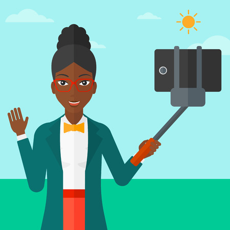 An african-american woman making selfie with a selfie-stick on the background of blue sky vector flat design illustration. Square layout.